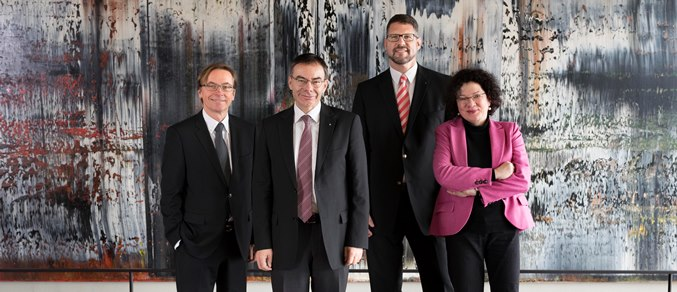 President's Board of the University of St.Gallen: Vice-President Prof. Dr. Kuno Schedler, President Prof. Dr. Thomas Bieger, Vice-President Prof. Dr. Lukas Gschwend; Vice-President Prof. Dr. Ulrike Landfester